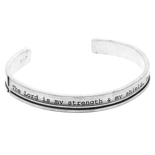 Faith Strength and Shield Men's Cuff Bracelet