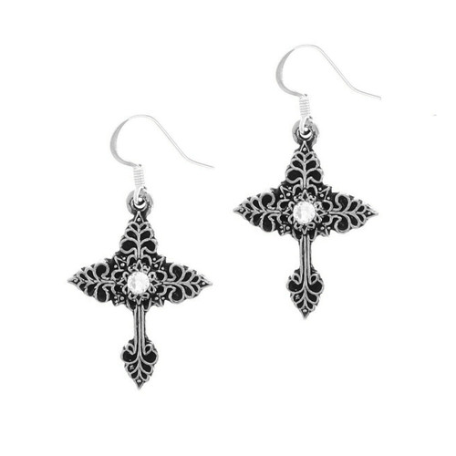 Grace Cross Earrings with Crystals