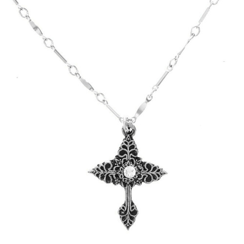 Grace Cross Necklace with Crystal