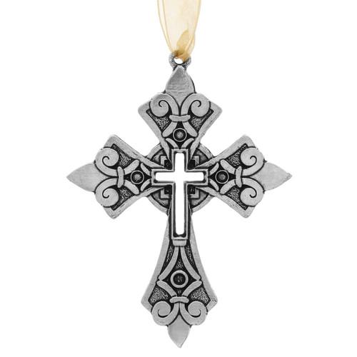 Fleur de Lis Cross Ornament