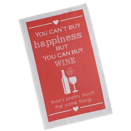 Happiness Wine Tea Towel