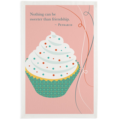 Friendship Cupcake Printed Tea Towel