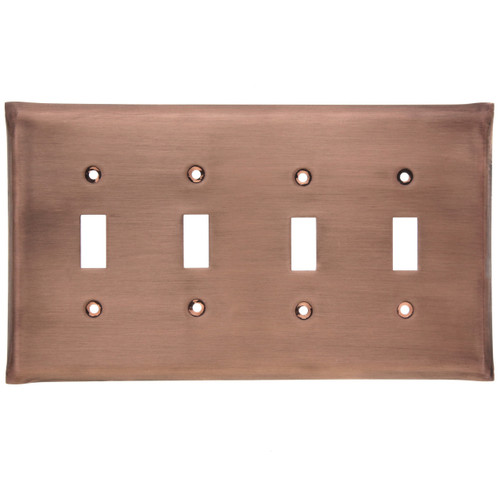 Brushed Copper Quad Switch Plate Cover