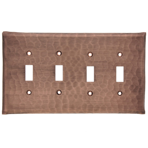 Waterfall Quad Switch Plate Cover (Copper)