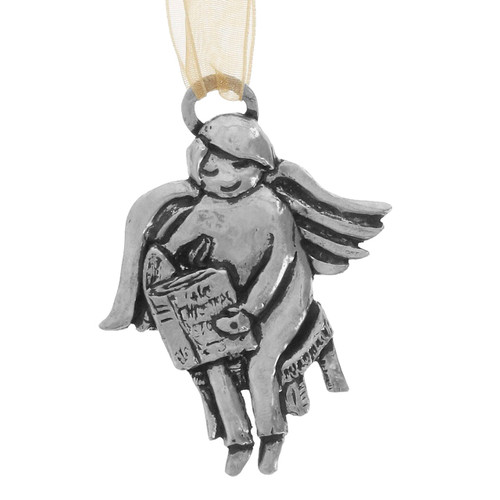 Keene Reading Angel Handcrafted Pewter Christmas Ornament