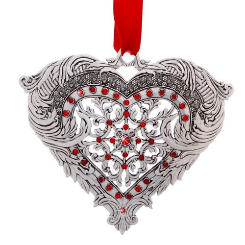 Seasons of Love Aluminum Heart Ornament, wedding, wedding gift, love, christmas, ornament, christmas ornament, wedding gift,  wedding ornament, marriage, first christmas ornament, swarovski, swarovski ornament