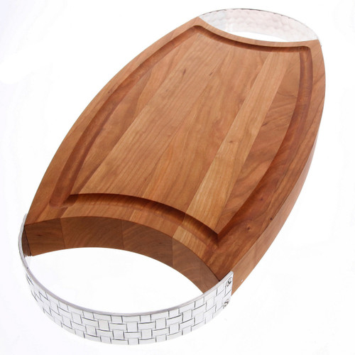 Basketweave Large Cherry Warther Oval Cutting Board with Handles