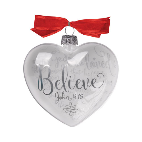 Believe Heart Christmas Ornament