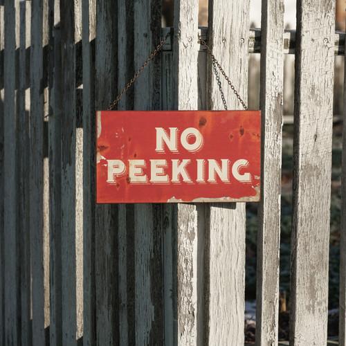 Metal No Peeking Sign
