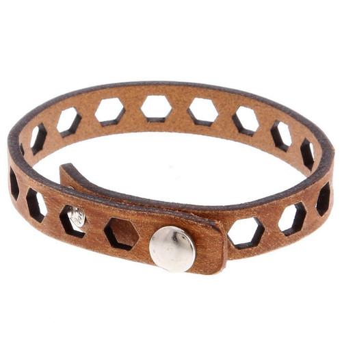 Thin Leather Bridges Cuff Bracelet