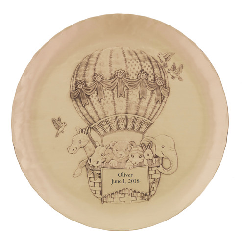 Engraved baby gift personalized baby plate wendell august forge personalized baby zoo balloon plate bronze negle Gallery