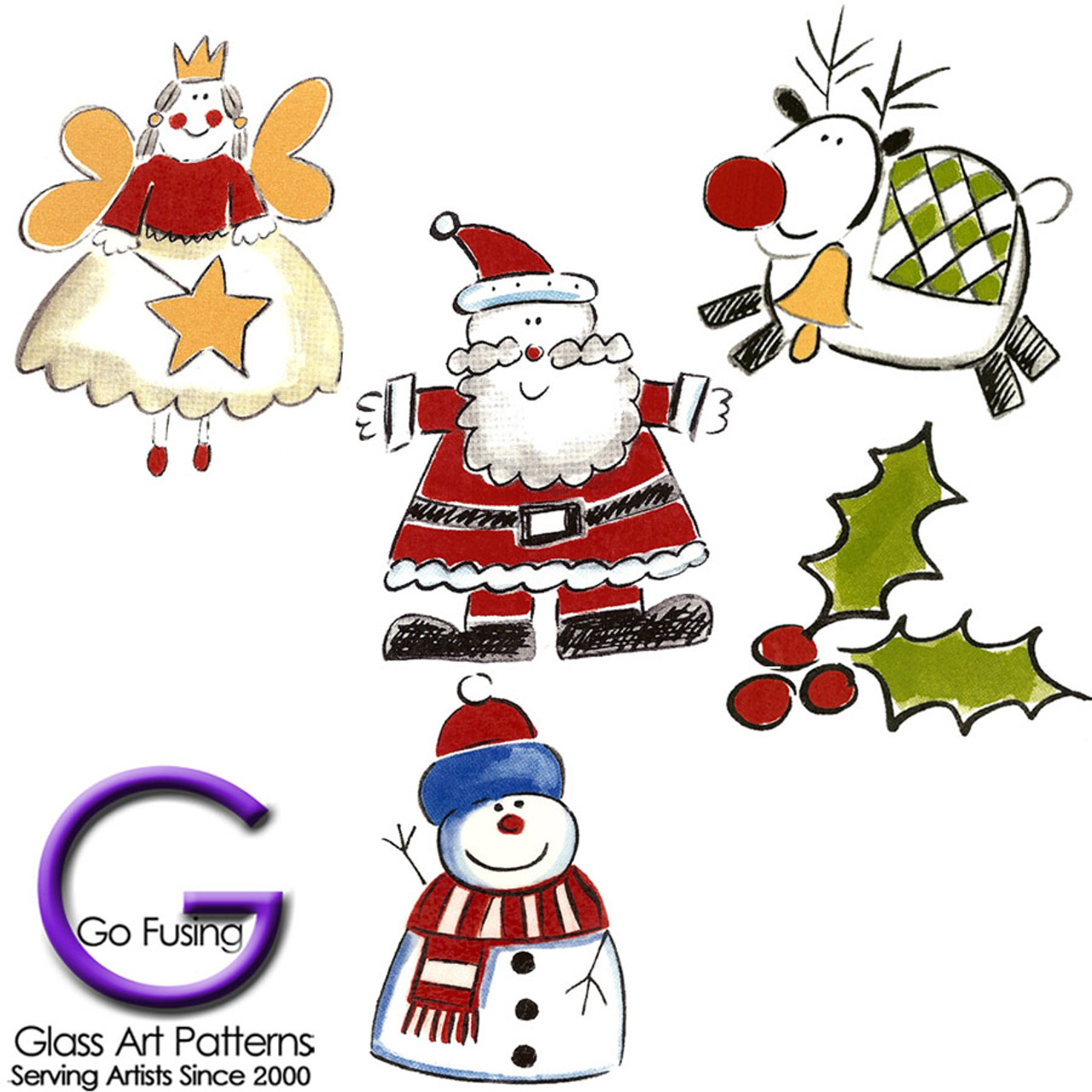 christmas wimpsy decals for fused glass or ceramics are a waterslide decal great for crafts - Christmas Decals For Glass
