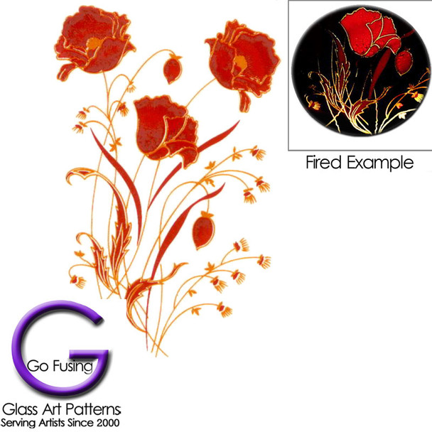 Go fusing flowers poppies red gold accents fused glass decal flowers poppies red gold accents fused glass decal mightylinksfo