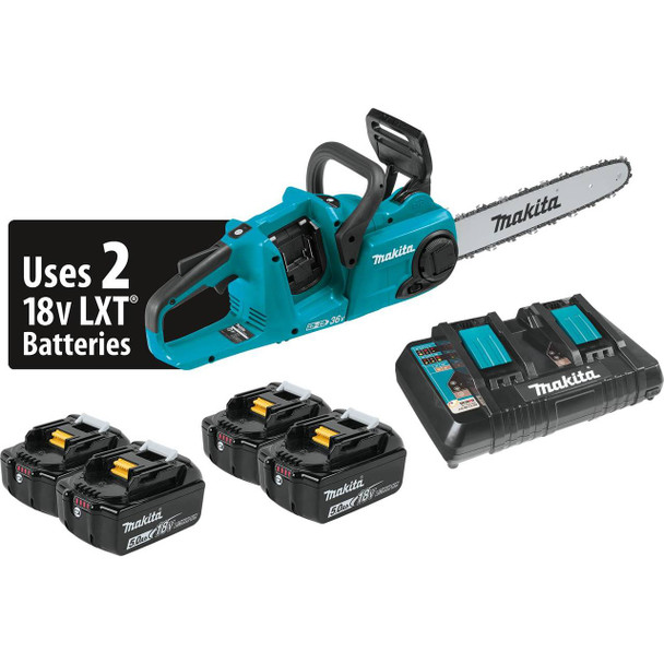 """18V X2 (36V) LXT Lithium-Ion Brushless Cordless 14"""" Chain Saw Kit with 4 Batteries (5.0Ah)"""