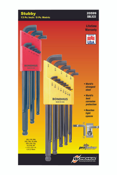 """Set 22 Stubby Ball End L-Wrenches In/Mm Double Pack - 16537 (.050-3/8"""") + 16599 (1.5-10Mm) - 20599 - Quantity: 1"""