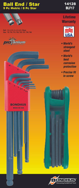 Set 17 Ball End L-Wrenches Mm And Star Fold Up Double Pack - 10999 (1.5-10Mm) + 12634 (Star Fold Up T9-T40) - 14128 - Quantity: 1