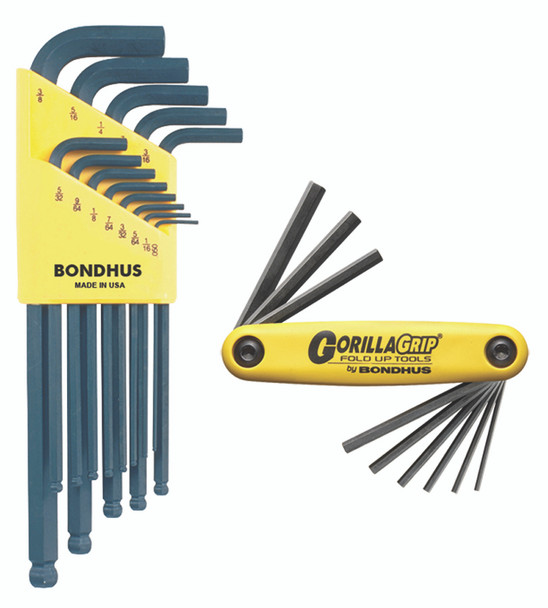 """Set 22 Ball End L-Wrenches In And Hex Fold Up Double Pack - 10937 (.050-38/"""") + 12589 (Hex Fold Up 5/64-1/4"""") - 14189 - Quantity: 1"""