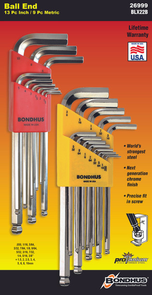 """Set 22 Briteguard Ball End L-Wrenches In/Mm Double Pack - 16937 (.050-3/8"""") + 16999 (1.5-10Mm) - 26999 - Quantity: 1"""