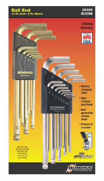 """Set 22 Briteguard And Goldguard Ball End L-Wrenches In/Mm Double Pack - 26937 (.050-3/8"""") + 38099 (1.5-10Mm) - 20399 - Quantity: 1"""