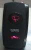 Wiper switch cover, rocker switch, wiper legend, black, 2 red lenses, Carling