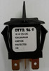 Otto sealed rocker switch, momentary, K2 series, double pole K2ALMAAAAA, black paddle actuator