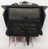 Carling V series rocker switch, double pole, on -off- on maintained, 2 dep. lamps, Jumper T2-T5, VJDJD66B