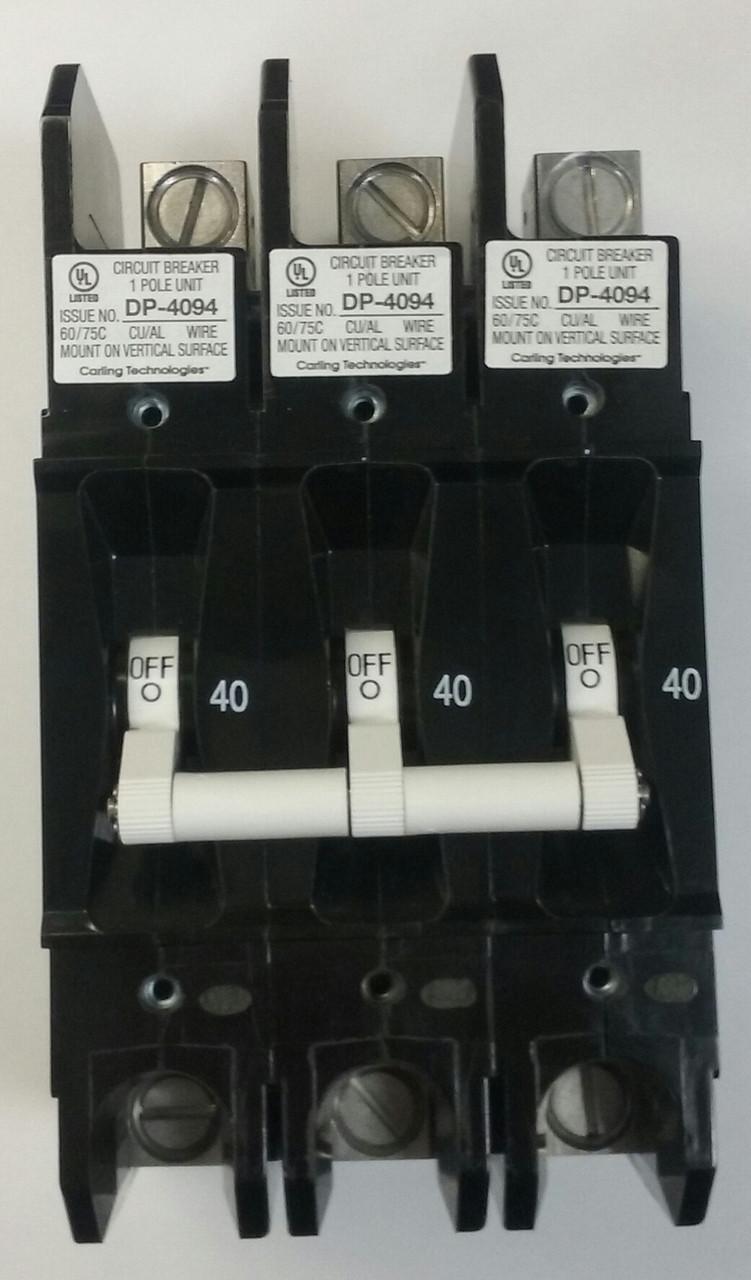 Carling Tech EA3-B0-24-640-31E-DC 3 Pole Circuit Breaker, 40 Amps