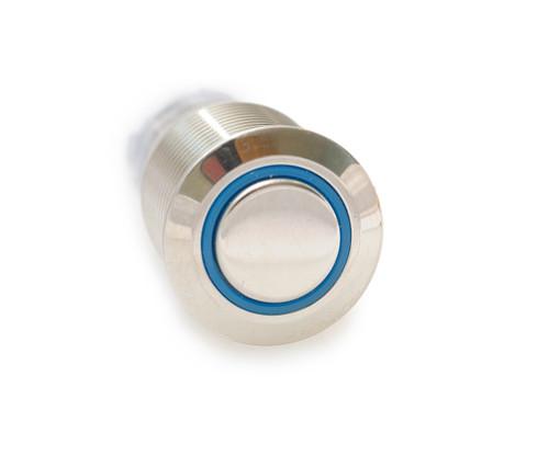 CH2LESB110S 16 mm Anti Vandal Sealed Latching Push Button Switch, 110 volt Blue Lit Ring