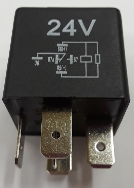 automotive relay, sealed, spade terminals, internal resistor, spdt, normally open, normally closed, 24 volt coil, 40 amp relay