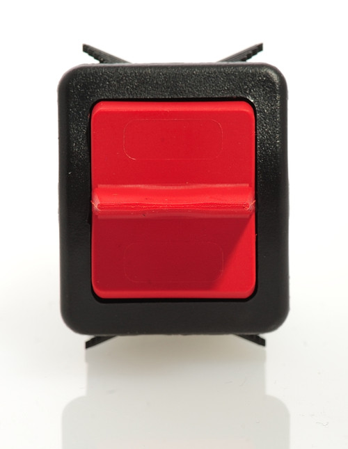 Otto sealed rocker switch, momentary, K2 series, double pole K2ADMAAAAA, red paddle