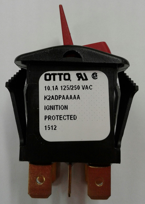 Otto sealed rocker switch, K2 series, double pole K2ADPAAAAA, red paddle