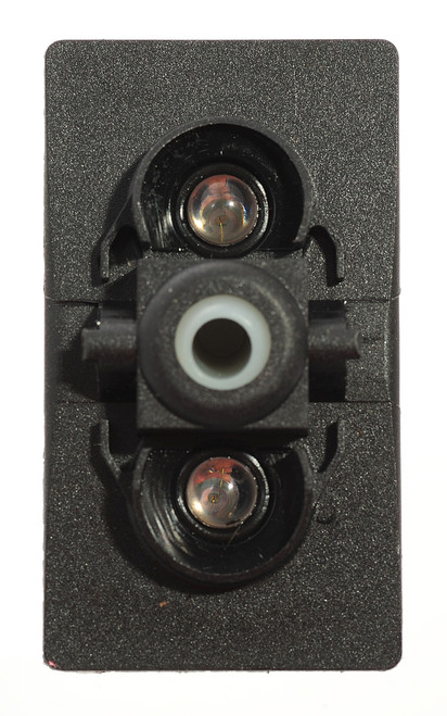 switch, marine, auto, rocker, on-off, single pole, sealed, Carling, V Series, 2 independent lamps, lit switch, momentary, V2D1W66B