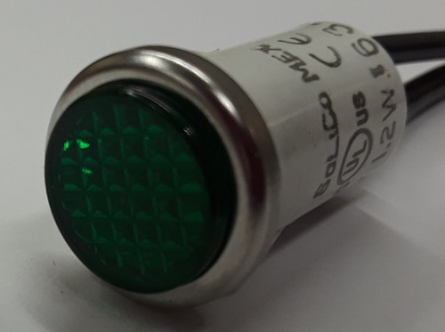 indicator light, Solico, green, 14 volt, round, wire leads, 2935-3-11-37340