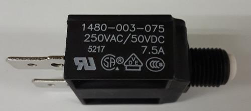 1480-003-075 Push to reset circuit breaker, 7.5 amp, white button, spade terminals