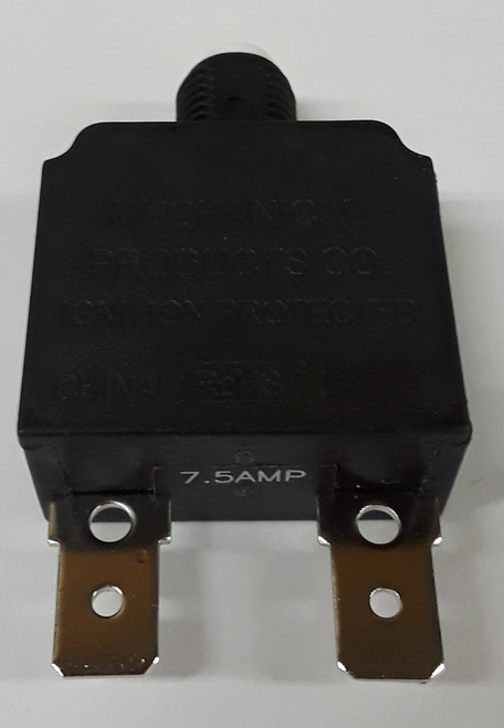 Mechanical Products 7.5 amp push to reset breaker, white button, quick connect terminals, 1480-003-075