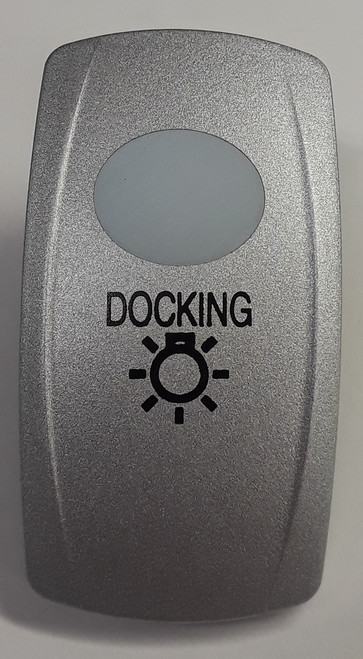 Docking Lights Carling V Series Rocker Switch Cap, Nickel with 1 White Lens, Docking Lights Icon