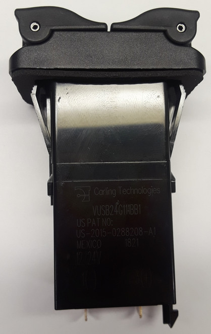 Carling V Series Dual Port USB Charger with Green LED, V-USB-24-G11-1BB1