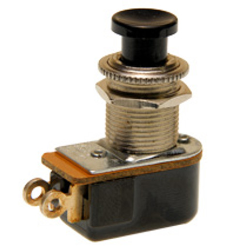push button switch, mometary on, off, solder terminals, black button, Carling, P27A-BL