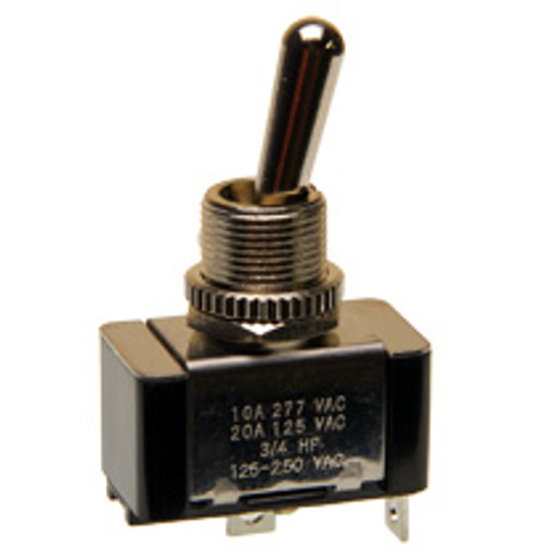 1185-S/20B On-Off Toggle Switch, Single Pole, 20 amps, Solder terminals