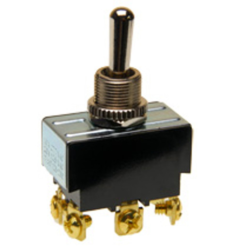 Double pole toggle switch, on-off-on, screw terminals