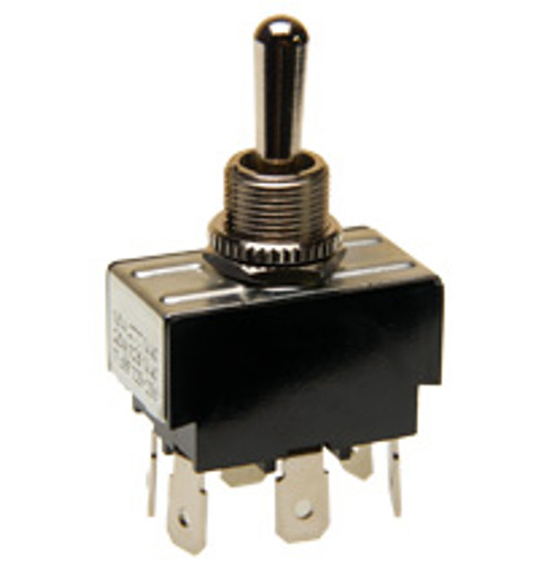 Double pole toggle switch, on-off-on, quick connect terminals