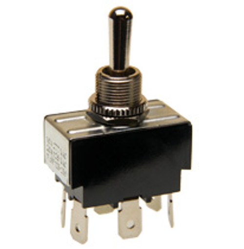 momentary toggle switch, spring return to center off position, quick connect terminals, double pole