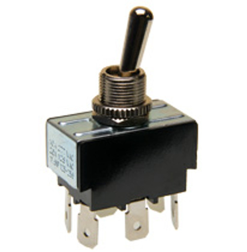 Double pole on-on toggle switch, quick connect terminals