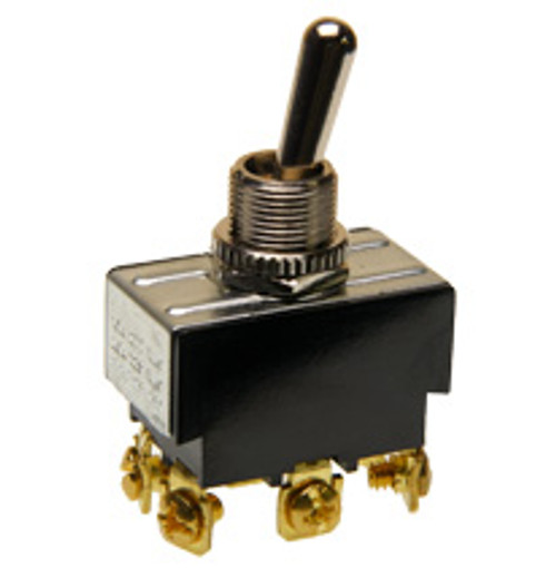 toggle switch, double pole, on - momentary on, screw terminals