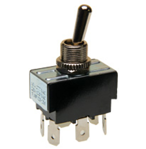 toggle switch, double pole, on - momentary on, quick connect terminals