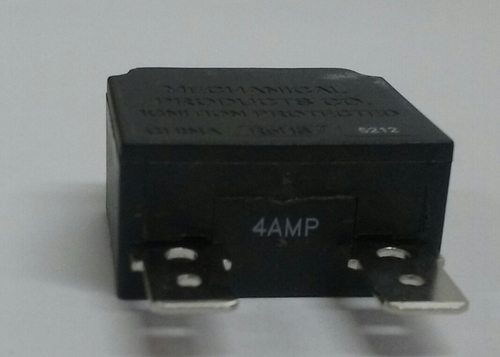 1480-003-040. Mechanical Products, 14 Series, push to reset, Thermal Breaker, 4 amp, white button, quick connects