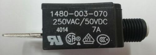 1480-003-070 Push to reset circuit breaker, 7 amp, white button, spade terminals