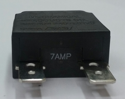 Mechanical Products 7 amp push to reset breaker, white button, quick connect terminals, 1480-003-070