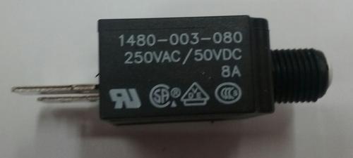 1480-003-080 Push to reset circuit breaker, 8 amp, white button, spade terminals