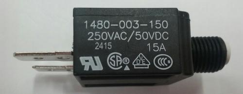 1480-003-150 Push to reset circuit breaker, 15 amp, white button, spade terminals